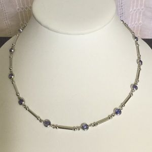 "Lia Sophia Jewelry - Vtg.LadyRemington16""W/3""Ext Necklace W/RndPurpleSt"
